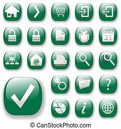 toile, set-green, icônes