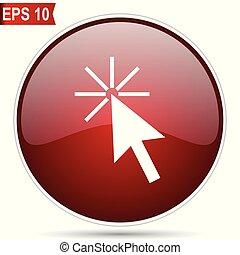 toile, simple, cerise, bouton, moderne, editable, ici, rond, arrière-plan., blanc, vecteur, conception, lustré, icon., internet, cercle, déclic, rouges
