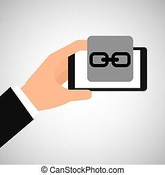 toile, smartphone, lien, tenant main
