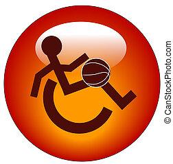 toile, sports, handicap, bouton rouge