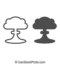 toile, style, apocalypse, 10., contour, nucléaire, isolé, illustration, radioactif, app., white., vecteur, conçu, icon., explosion, ligne, eps, conception, glyph