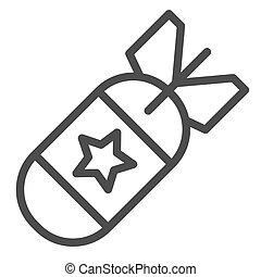 toile, style, bombe, contour, nucléaire, isolé, illustration, air, app., missile, vecteur, white., icon., 10., ligne, eps, conception, conçu