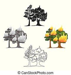 toile, style, brûler, vecteur, forêt, dessin animé, icône