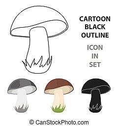 toile, style, champignon, vecteur, dessin animé, icône