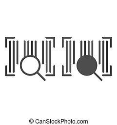 toile, style, code, 10., contour, barcode, isolé, illustration, eps, lentille, app., white., vecteur, conçu, icon., ligne, conception, glyph