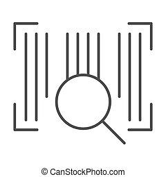 toile, style, code, 10., contour, barcode, isolé, illustration, eps, lentille, app., white., vecteur, conçu, icon., ligne, conception, mince