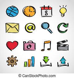toile, style, ensemble, icônes, -, croquis, encre