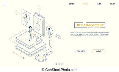 toile, style, gestion, hr, -, isométrique, conception, ligne, bannière