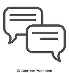 toile, style, icon., 10., contour, communication, isolé, illustration, eps, app., vecteur, parole, white., bavarder, ligne, bulle, conception, conçu