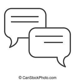 toile, style, icon., 10., contour, communication, isolé, illustration, eps, app., white., vecteur, parole, conçu, bavarder, ligne, bulle, conception, mince