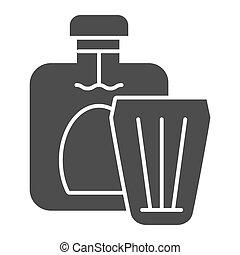toile, style, vecteur, 10., alcool, app., solide, boisson, isolé, illustration, eps, verre, white., cognac, conçu, bouteille, icon., conception, glyph
