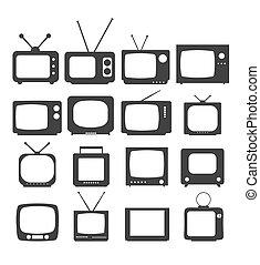 toile, style, vecteur, eps10, plat, tv, symbole, illustration, site, isolé, arrière-plan., app, tã©lã©viseur, branché, blanc, ui., conception, ton, logo, icône