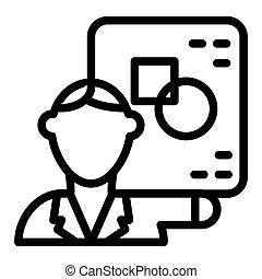 toile, style, white., 10., école, géométrie, prof, isolé, illustration, prof, app., vecteur, conçu, icon., ligne, eps, conception, math, contour
