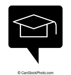 toile, style, white., 10., solide, chapeau, casquette, isolé, illustration, diplômé, remise de diplomes, app., vecteur, parole, conçu, icon., message, eps, bulle, conception, glyph