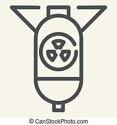 toile, style, white., bombe, contour, ogive nucléaire, isolé, illustration, eps, app., vecteur, atomique, icon., guerre, 10., ligne, conception, conçu