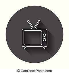 toile, tã©lã©viseur, tv, symbole, site, illustration, shadow., vecteur, ui, long, ligne, app, style., conception, logo, icône