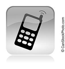 toile, téléphone portable, cellulaire, interface, icône