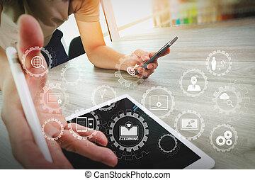 toile, tablette, numérique, fonctionnement, bois, concepteur, vue, informatique, conception, sommet, bureau, sensible, main, concept
