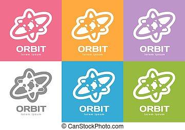 toile, technologie, anneaux, orbite, logo