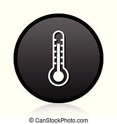 toile, température, signe., symbole., chaud, vecteur, noir, thermomètre, icon., rond