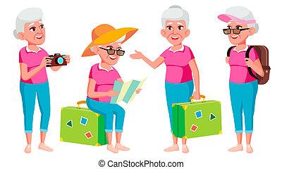 toile, touriste, femme, vieux, vector., positif, gens., tourism., person., isolé, illustration, pensioner., ensemble, brochure, aged., affiche, personne agee, poses, dessin animé, personnes agées, design.