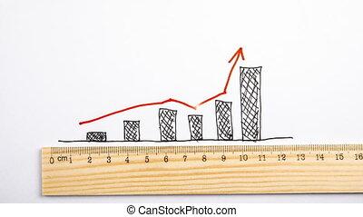 toile, trafic, concept., graphique, flèche, statistiques