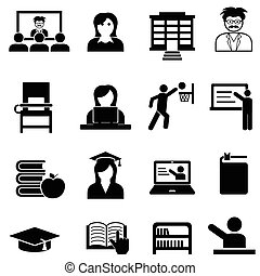 toile, université, ensemble, collège, icône