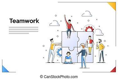 toile, usage, concept, héros, bannière, banner., art, isolé, illustration, infographics, arrière-plan., vecteur, plat, boîte, collaboration, ligne, images., blanc
