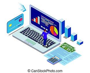 toile, usage, concept, héros, bannière, banner., isométrique, plat, infographics, analytics, illustrations, vecteur, boîte, branché, images., données, gradients.