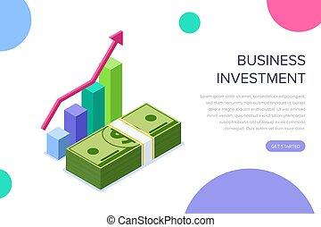 toile, usage, héros, bannière, business, plat, concept., isométrique, illustration, isolé, infographics, arrière-plan., vecteur, boîte, blanc, images., investissement