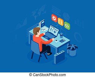 toile, usage, héros, bannière, plat, concept., travail, isométrique, illustration, infographics, images., boîte, programmeur