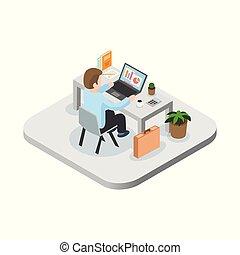 toile, usage, héros, bannière, plat, concept., travail, isométrique, illustration, infographics, vecteur, boîte, programmeur, images.