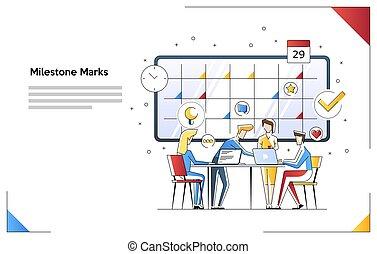 toile, usage, travail, héros, bannière, arrière-plan., équipe, étape importante, isolé, plat, infographics, calendar., électron, vecteur, illustration, caractères, marques, blanc, images., boîte