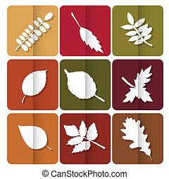 toile, utilisé, arbres., feuilles, jaune, boutons, automne,...