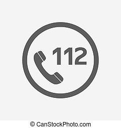 toile, ux, ui, urgence, app, mobile, 112, illustration, isolé, icône, appeler, vecteur, backround., blanc