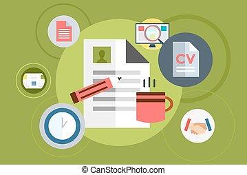 toile, vecteur, éléments, bureau, tasse, feuille, infographic., illustration, objets, stockage, computer., thé, document, outils, design.