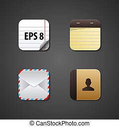 toile, vecteur, apps, icône