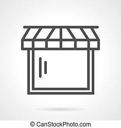 toile, vecteur, noir, ligne, magasin, icône