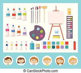 toile, vecteur, peinture, outils, autre, gosse
