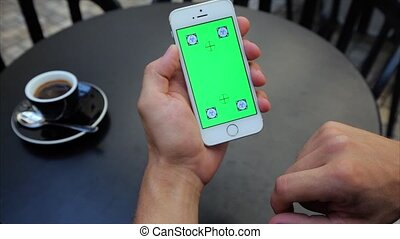 toile, verticalement, écran, étiquettes, rouleau, téléphone, iphone, blanc vert, par, pages