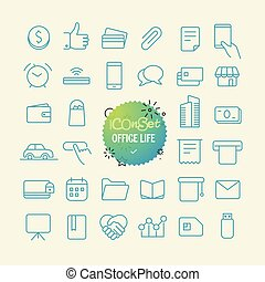 toile, vie, contour, bureau, mobile, set., icons., ligne ...