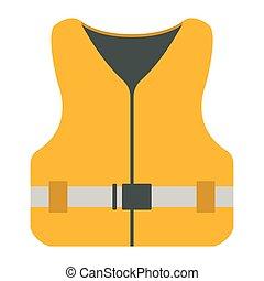 toile, vie, illustration., elements., equipment., veste, vecteur, icon., rivière, tourisme, voyage, bateau