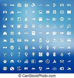 toile, voyage, ensemble, 100, icônes