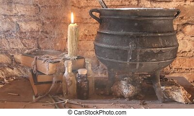 toiles araignée, ancien, brûler, bougies, pot, sortilège, sorcière, nuit, la terre, entre