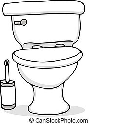 An image of a toilet and cleaning brush.