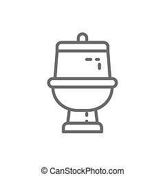 Toilet, bathroom line icon.