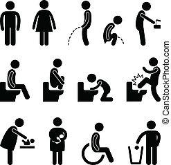 A set of pictograms for public toilet.