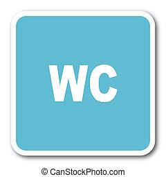 toilet blue square internet flat design icon
