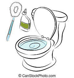 Toilet Bowl Cleaning Tools - An image of a toilet bowl...