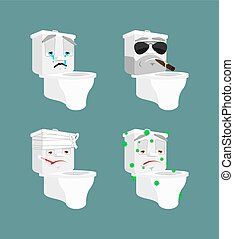 Toilet bowl emoji set 1. lavatory Sick and sad. Bandaged and brutal. toilet Collection of situations